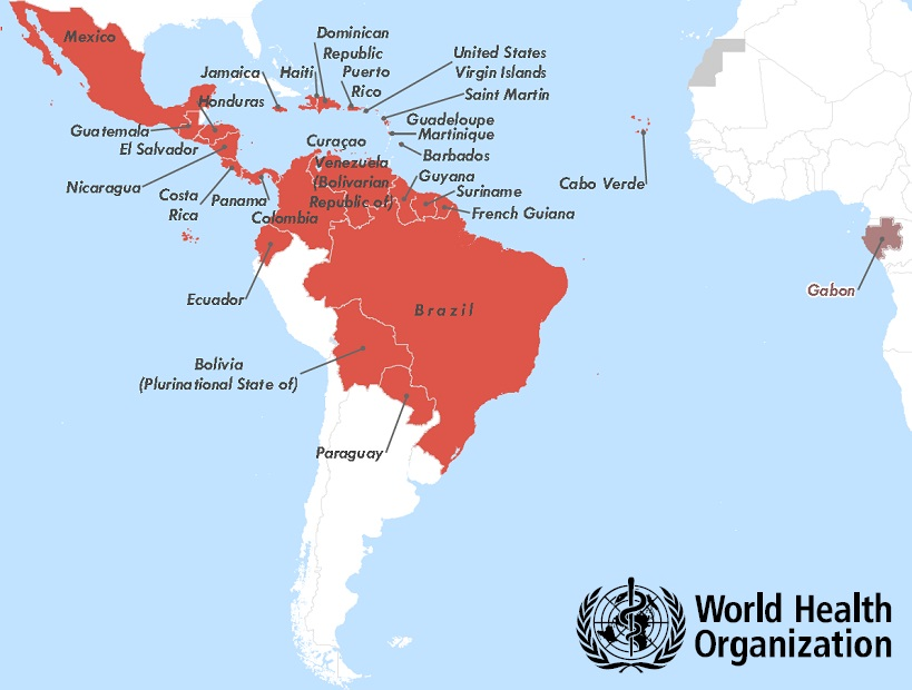 Countries with active Zika Virus transmission. Source: www.who.int