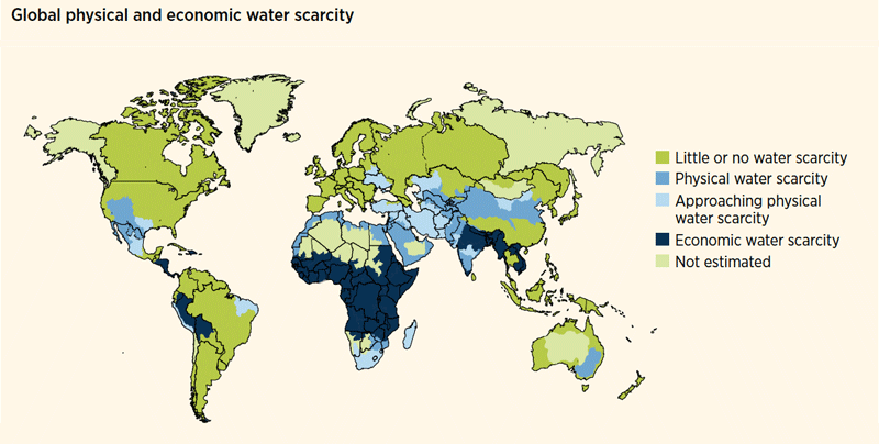 Global physical and economic water scarcity in the world. Photo: UN.org